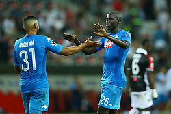 August 22, 2017 - Nice, France - Faouzi Ghoulam of Napoli and Kalidou Koulibaly of Napoli celebrating after the UEFA Champions League play-off football match between Nice and Napoli at the Allianz Riviera stadium in Nice, southeastern France, on August 22, 2017. (Credit Image: © Matteo Ciambelli/NurPhoto via ZUMA Press)
