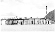"""D&RGW Durango roundhouse as viewed from the rear.<br /> D&RGW  Durango, CO  Taken by Morse, Ron - 1960-1969<br /> In book """"Durango: Always a Railroad Town (1st ed.)"""" page 37"""