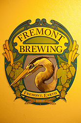 Fremont Brewing Sticker on Wall, Fred's Rivertown Alehouse, Snohomish, Washington, US