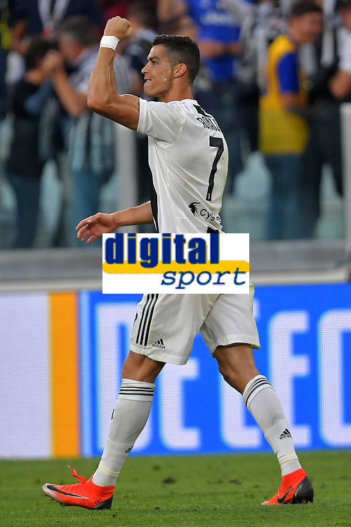 Cristiano Ronaldo of Juventus celebrates after scoring a goal during the Serie A 2018/2019 football match between Juventus and Genoa CFC at Allianz Stadium, Turin, October, 20, 2018 <br />  Foto Andrea Staccioli / Insidefoto