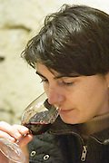 Anne-Laure Borras, daughter to Jacques Gauch Domaine Le Nouveau Monde. Terrasses de Beziers. Languedoc. Owner winemaker. Tasting wine. France. Europe.