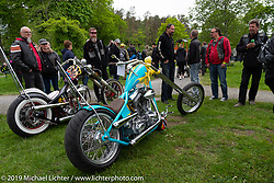 The Blue Hawaii chopper from Norway in the Twin Club's annual Custom Bike Show in Norrtälje, Sweden. Saturday, June 1, 2019. Photography ©2019 Michael Lichter.