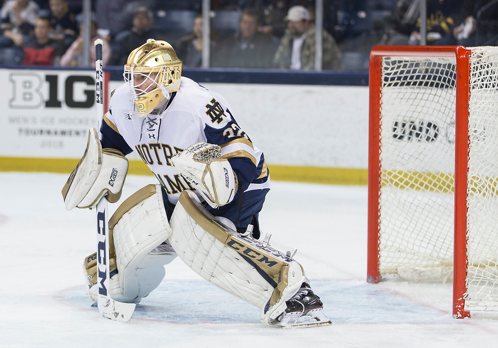 March 10, 2018:  Notre Dame goaltender Cale Morris (32) during NCAA Hockey game action between the Notre Dame Fighting Irish and the Penn State Nittany Lions at Compton Family Ice Arena in South Bend, Indiana.  Notre Dame defeated Penn State 3-2.  John Mersits/CSM