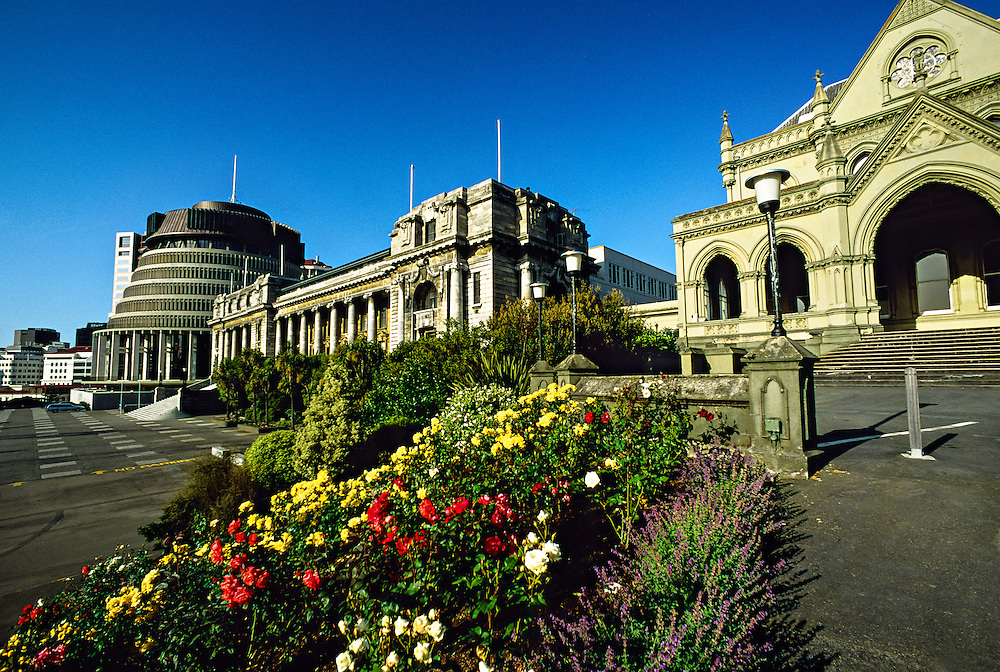 The Beehive (Government Cabinet Offices), Parliament Building and General Assembly Library, Wellington, New Zealand