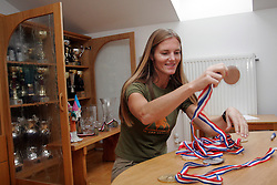 Irena Avbelj, several times World Champion in Freefall Style and Accuracy Landing and in Para-ski at home with her medals, on September 13, 2005, in Ljubljana, Slovenia. (Photo by Vid Ponikvar / Sportal Images)