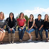 (L-R) Nursing Program Director Sabrina Ezzell, Kristen Tsosie, Raina Dominquez, Janelle Garciduenas, Allison Begay, and Abby Lyle pose together outside of the University of New Mexico-Gallup building. UNM-G has begun to offer students an opportunity for obtain their Bachelors of Science in Nursing so they may further help their community.