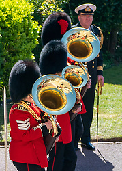 Members of a military band play outside St George's Chapel, Windsor Castle, Berkshire, ahead of the funeral of the Duke of Edinburgh. Picture date: Saturday April 17, 2021.