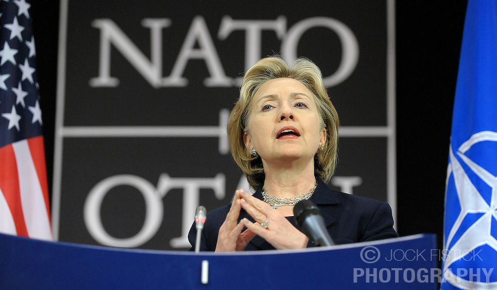 Hillary Clinton, the U.S. secretary of state, speaks during a news conference following her first NATO foreign ministers meeting at NATO headquarters in Brussels, Thursday, March 5, 2009. (Photo © Jock Fistick)