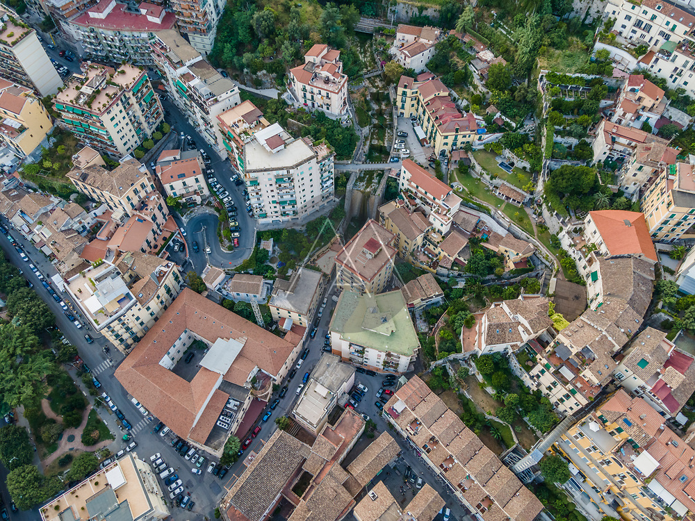 Aerial view of Salerno downtown, view of the old town rooftops, Italy.