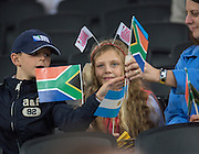 """London, Great Britain, """"Sitting On The Fence"""", but love Rugby, South Africa vs Argentina. 2015 Rugby World Cup, Bronze Medal Match.Queen Elizabeth Olympic Park. Stadium, Stratford. East London. England,, Friday  30/10/2015. <br /> [Mandatory Credit; Peter Spurrier/Intersport-images]"""