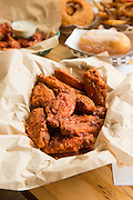 El Jefe wings and other fried goodness from Fire on the Mountain on E. Burnside in Portland, Oregon.
