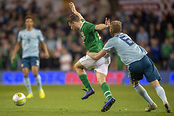 November 15, 2018 - Dublin, Ireland - Seamus Coleman of Ireland fouled by George Seville of N.Ireland during the International Friendly match between Republic of Ireland and Northern Ireland at Aviva Stadium in Dublin, Ireland on November 15, 2018  (Credit Image: © Andrew Surma/NurPhoto via ZUMA Press)