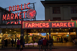 Exterior of the Pike Place Market in Seattle, WA, at dusk