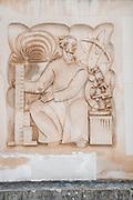 Bas-relief depicting science and education on the building of Biblioteca Geral Da Universidade De Coimbra, Coimbra university library, Portugal