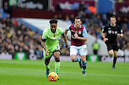Raheem Sterling of Manchester city makes a break. Barclays Premier league match, Aston Villa v Manchester city at Villa Park in Birmingham, Midlands  on Sunday 8th November 2015.<br /> pic by  Andrew Orchard, Andrew Orchard sports photography.