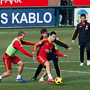 Galatasaray's players Arda TURAN (R) and Emiliano INSUA (B) during their training session at the Jupp Derwall training center, Thursday, January 13, 2010. Photo by TURKPIX