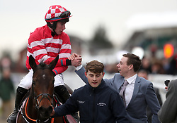 Veneer Of Charm ridden by jockey Jack Kennedy after winning the Boodles Fred Winter Juvenile Handicap Hurdle during Ladies Day of the 2018 Cheltenham Festival at Cheltenham Racecourse.