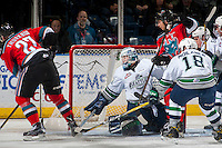 KELOWNA, CANADA - DECEMBER 7:  Rylan Toth #31 of the Seattle Thunderbirds defends the net against the Kelowna Rocketson December 7, 2016 at Prospera Place in Kelowna, British Columbia, Canada.  (Photo by Marissa Baecker/Shoot the Breeze)  *** Local Caption ***