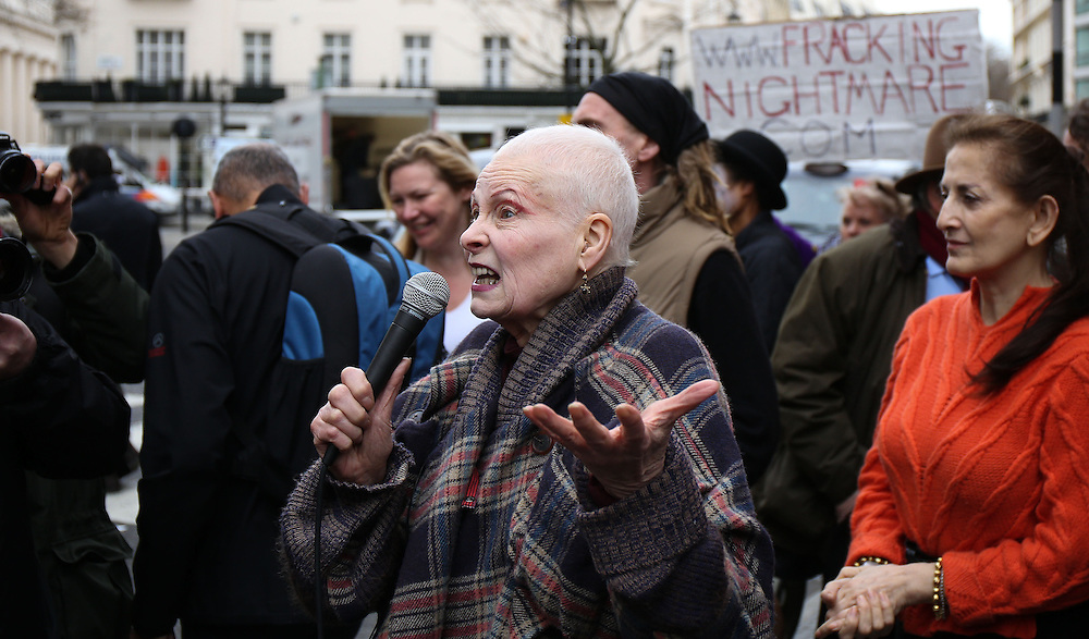 Dame Vivienne Westwood  attends an anti fracking demonstration in London on March 18, 2014.