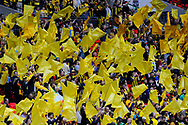 Watford fans waving their gold flags before the The FA Cup Final match between Manchester City and Watford at Wembley Stadium, London, England on 18 May 2019.