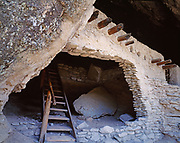 Dwellings of the Mountain Mogollon occupying natural caves at Gila Cliff Dwellings National Monument, New Mexico.