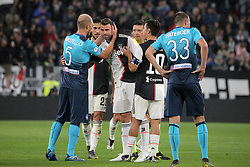 May 19, 2019 - Turin, Turin, Italy - Andrea Barzagli of Juventus greets the Atalanta's captain Andrea Masiello and say farewall goodbye to the world of the football during the serie A match between Juventus FC and Atalanta BC at Allianz Stadium on May 19, 2019 in Turin, Italy. (Credit Image: © Giuseppe Cottini/NurPhoto via ZUMA Press)