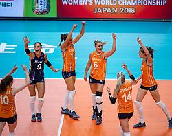 03-10-2018 NED: World Championship Volleyball Women day 5, Yokohama<br /> Argentina - Netherlands 0-3 / Myrthe Schoot #9 of Netherlands, Anne Buijs #11 of Netherlands, Maret Balkestein-Grothues #6 of Netherlands, Laura Dijkema #14 of Netherlands, Yvon Belien #3 of Netherlands