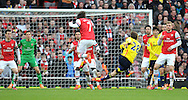 Sunderland's Marcos Alonso sees his deflected volley shot that goes wide during Barclays Premier League , Arsenal v Sunderland at the Emirates Stadium in London, England on Saturday 22nd Feb 2014.<br /> pic by John Fletcher, Andrew Orchard sports photography.