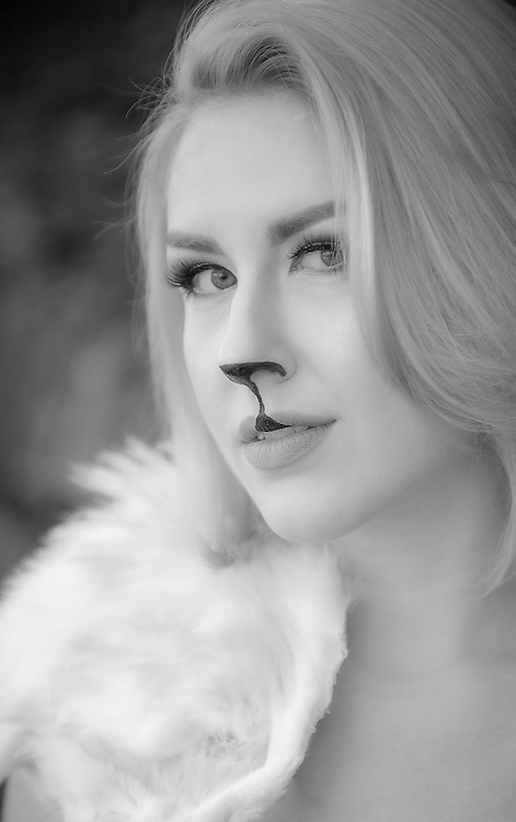 Beautiful Serynne Evans as a Goat Godless and Goblin Queen in black and white portrait by Kansas City Photographer Kirk Decker.