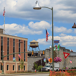 Hershey, PA, USA - June 19, 2013: Hershey Water Tower visible from the main street.