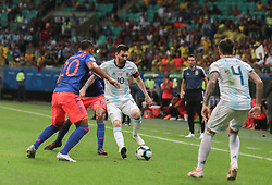 June 15, 2019 - Salvador, Brazil - SALVADOR, BA - 15.06.2019: ARGENTINA VS COLOMBIA - Lionel Messi, during a match between Argentina and Colombia, valid for the group stage of the Copa America 2019, held this Saturday (15) at the Arena Fonte Nova in Salvador, Bahia, Brazil. (Credit Image: © Tiago Caldas/Fotoarena via ZUMA Press)