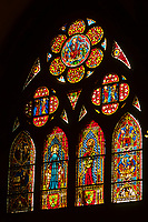 Stained glass inside the Munster (Cathedral of Our Lady), Freiburg, Baden-Württemberg, Germany