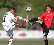 Adam Mitchell of Auckland City and Edward Willkinson of Canterbury United.<br /> ISPS Handa Men's Premiership football match between Canterbury United and Auckland City at English Park in Christchurch on Sunday 13 December 2020. © Copyright image by Martin Hunter / www.photosport.nz