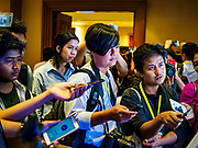 26 NOVEMBER 2017 - YANGON, MYANMAR: Journalists from Myanmar ask questions of Myanmar Catholic Bishops at a press event in Yangon Sunday. The Bishops were talking about the visit of Pope Francis to Myanmar. The Pope will visit Yangon November 27 - 30. He will have private meetings  with government officials, military leaders and Buddhist clergy. He will also participate in two masses, a public mass in a sports complex on November 29 and a mass for Myanmar youth in St. Mary's Cathedral on November 30.    PHOTO BY JACK KURTZ