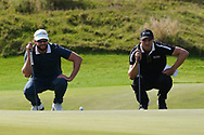 Kalle Samooja (FIN) and Martin Kaymer (GER) on the 16th during Round 4 of the Oman Open 2020 at the Al Mouj Golf Club, Muscat, Oman . 01/03/2020<br /> Picture: Golffile   Thos Caffrey<br /> <br /> <br /> All photo usage must carry mandatory copyright credit (© Golffile   Thos Caffrey)