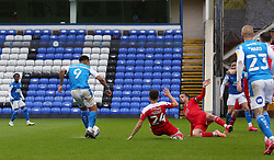 Jonson Clarke-Harris of Peterborough United scores his first goal of the game against Swindon Town - Mandatory by-line: Joe Dent/JMP - 03/10/2020 - FOOTBALL - Weston Homes Stadium - Peterborough, England - Peterborough United v Swindon Town - Sky Bet League One