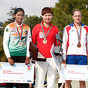 CHENG Ming (CHN) (C) and Berengere SCHUH (FRA) (R), Deepika KUMARI (IND) (L) competes in Archery World Cup Final in Istanbul, Turkey, Sunday, September 25, 2011. (AP Photo/TURKPIX)