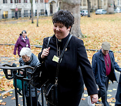 © London News Pictures. 20/11/2012. London, UK . A female member of the Church of England clergy arriving at Church House in Westminster, London for day two of the three-day Church of England General Synod. Members will vote on whether to allow women to become bishops, 20 years after the Church decided to ordain women as priests. Photo credit: Ben Cawthra/LNP
