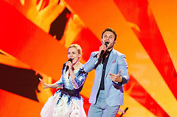 22.05.2015, Stadthalle, Wien, AUT, Eurovision Songcontest Vienna 2015, Kostümprobe für das Große Finale, im Bild Monika Linkyte & Vaidas Baumila aus Litauen // Monika Linkyté & Vaidas Baumila from Lithuania during dress rehearsal of the grand final for Eurivision Songcontest Vienna 2015 at Stadthalle in Vienna, Austria on 2015/05/22, EXPA Pictures © 2015, PhotoCredit: EXPA/ Michael Gruber