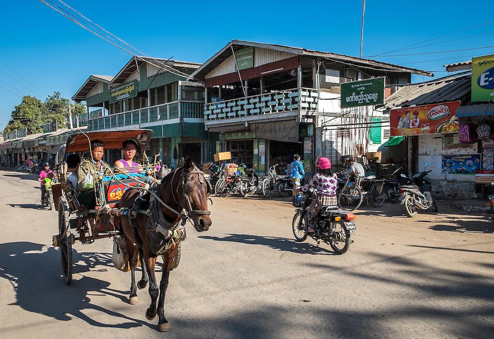 BAGAN, MYANMAR - CIRCA DECEMBER 2013: Street in the Nyaung U market close to Bagan in Myanmar