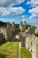 Caernarfon or Carnarvon Castle built in 1283 by King Edward I of England, Gwynedd, north-west Wales,