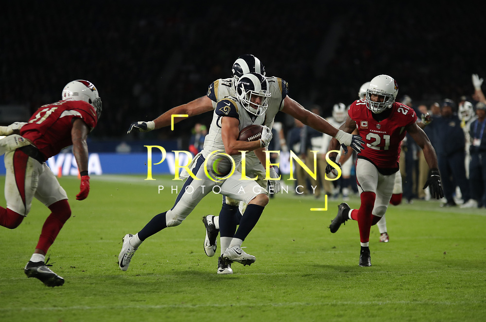 LONDON, ENGLAND - OCTOBER 22: Los Angeles Rams wide receiver Cooper Kupp (18) runs through for a touchdown during the NFL match between the Arizona Cardinals and the Los Angeles Rams at Twickenham Stadium on October 22, 2017 in London, United Kingdom. (Photo by Mitchell Gunn/ESPA-Images) *** Local Caption *** Cooper Kupp