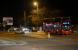 © Licensed to London News Pictures. 09/03/2019. London, UK. The scene on Colney Hatch Lane, North London after 19 year old man was stabbed in the chest onboard a bus. The victim is in a life threatening condition. Photo credit: Ben Cawthra/LNP