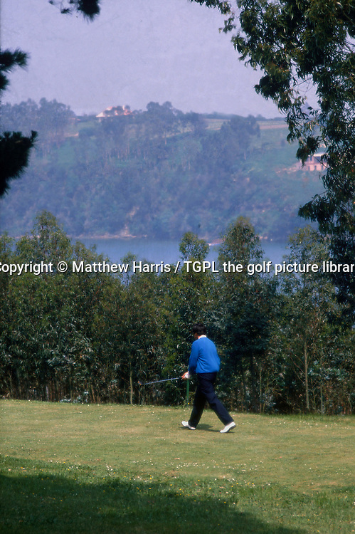 Seve BALLESTEROS (SPN) walks down a fairway of his beloved Pedrena golf course where he used to sneak on at night and play a few holes under the moonlight; during Spanish Open 1988,Real Golf de Pedrena GC,Pedrena,Cantabria,Spain.