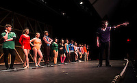 """Mike"" Riley Alward takes center stage during his audition in the ""Chorus Line"" dress rehearsal at Gilford High School Wednesday evening.  (Karen Bobotas/for the Laconia Daily Sun)"