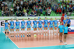 Players of Slovenia during the volleyball match between National team of Slovenia and Bolgaria in Semifinal Round of Womens U23 World Championship 2017, on September 16, 2017 in SRC Stozice, Ljubljana, Slovenia. Photo by Morgan Kristan / Sportida