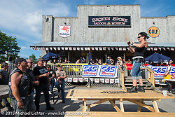 The Broken Spoke Saloon during Laconia Motorcycle Week. Laconia, NH, USA. June 13, 2015.  Photography ©2015 Michael Lichter.
