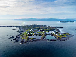 Drone view of  Easdale Island on one of the slate islands, Argyll and Bute, Scotland, UK