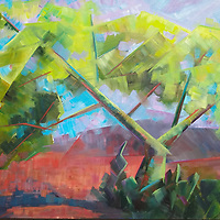 SOLD<br /> Palo Verde trees are the palest of yellow in the spring sun.  Wispy and ephemeral, they beckon to the weary hiker for a bit of shade.<br /> 24 x 36, oil on canvas.