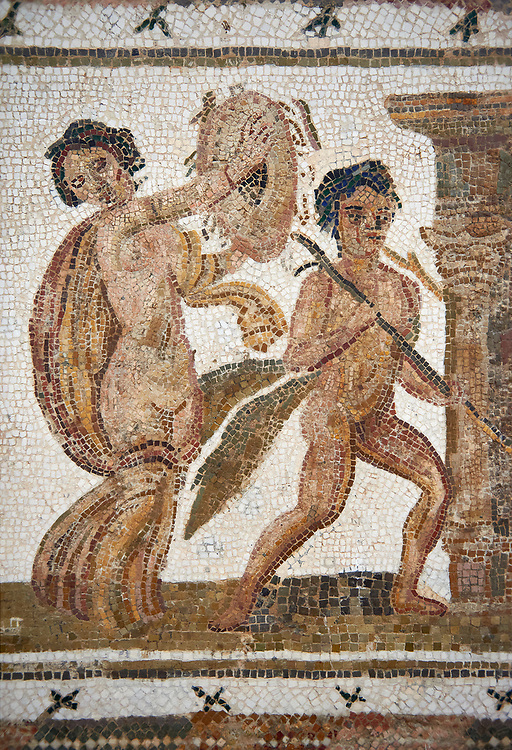 Picture of a Roman mosaics design depicting  a Bacchante, follower of Bacchus, and a Satyr, from the ancient Roman city of Thysdrus. 3rd century AD House of Tertulla. El Djem Archaeological Museum, El Djem, Tunisia. .<br /> <br /> If you prefer to buy from our ALAMY PHOTO LIBRARY  Collection visit : https://www.alamy.com/portfolio/paul-williams-funkystock/roman-mosaic.html  . Type -   El Djem   - into the LOWER SEARCH WITHIN GALLERY box. Refine search by adding background colour, place, museum etc<br /> <br /> Visit our ROMAN MOSAIC PHOTO COLLECTIONS for more photos to download  as wall art prints https://funkystock.photoshelter.com/gallery-collection/Roman-Mosaics-Art-Pictures-Images/C0000LcfNel7FpLI